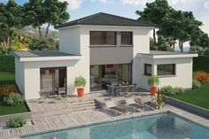 5 Bedroom House Plans, House Plans Mansion, Style At Home, Outdoor Living, Outdoor Decor, Facade, Swimming Pools, Sweet Home, New Homes