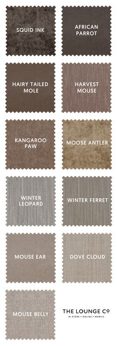 Ones to Swatch | At The Lounge Co. you'll find a stunning selection of brown fabrics in tweed, velvet, chenille, linen and cotton. Order up to 8 free swatches now. Squid Ink, African Parrot, Hairy-Tailed Mole, Harvest Mouse, Kangaroo Paw, Moose Antler, Winter Leopard, Winter Ferret, Mouse Ear, Dove Cloud, Mouse Belly. #theloungeco #swatch #swatches #fabric #brown #beige #neutral #sofa #chair #upholstery