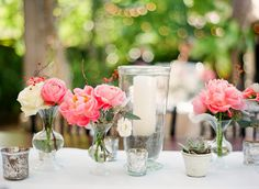 elegant table decor, succulents, mercury glass and peonies, on She walks in beauty photo by  KTMerry