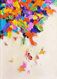 Falling Rainbow - original textured abstract oil painting, via Etsy