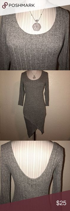 Over night $$ 🔥New 3/4 sleeve sweater dress 🔥🔥 🔥🔥 over night sale will go back to reg price at 10am 🔥Brand new with tags  3/4 sleeve  77% rayon 18%polyester 5%spandex Heather gray Fashion Nova Dresses High Low
