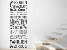 Wandtattoo Spruch für die Familie: Familienzirkus - Hereinspaziert liebe Leute! Erleben Sie Menschen, Tiere, Sensationen.. ; )