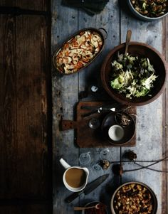 Food, old barn wood, rustic serving dishes.  This is fall food.