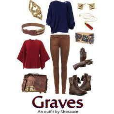 League of Legends: Classic Graves (feminine) by rhosaucey on Polyvore featuring Emilio Pucci, Givenchy, MOTHER, Madden Girl, Liberty, House of Harlow 1960, Alexandra Beth Designs, RIFLE and Aspinal of London