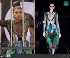 Empire (Fox Network-September Season 1 - The Devils Are Here - Cookie Lyon's Fashion - Gucci Fall 2013 Feather Dress worn by Taraji P. Tv Show Outfits, Cool Outfits, Taraji P Henson, Queen Fashion, Fashion Show, Fashion Outfits, Feather Dress, Empire Style, Mesh Dress
