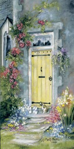 """The Yellow Door"" painting by: Marty Bell with painted roses hangs in my yellow guesthouse ■♤♡◇♧☆■ Bell Art, Art Watercolor, Yellow Doors, Painted Doors, Beautiful Paintings, Rose Paintings, Painting Flowers, Art Flowers, Painting Art"