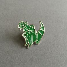 Godzilla origami pin badge