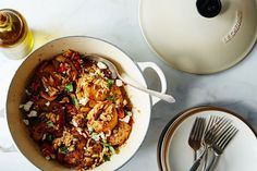 Chicken Thighs with Tomato, Orzo, Olives, and Feta recipe on Food52