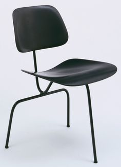 Charles Eames (American, 1907–1978), Ray Eames (American, 1912–1988). Three-Legged Side Chair. Evans Products Co., Molded Plywood Div., Venice, CA. 1944. Stained molded plywood, lacquered metal rod, rubber shockmounts, and rubber glides.