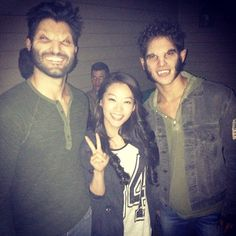"""Pin for Later: 32 Teen Wolf Cast Snaps That Will Give You Serious Pack Envy  Arden Cho: """"Kira finally saw the boys as werewolf's! BTS from episode 317 , they're not so scary after all!"""""""