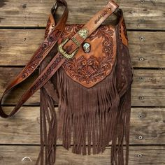 Western Floral Saddle Bag in chocolate & antique brown featuring hand carved panels and a light blue Royston Turquoise inlay.