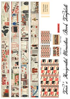 """Free miniature book printie of Art in Daily Life (1925) a great Soviet Constructivist style book with lots of great 1920s clothing pictures and Patterns by the designer Lamanova.  This horizontal format book prints out at roughly 1.5"""" full size on the long end printed normally, and 1"""" printed at 1/2 size,  for dollhouses."""