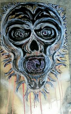 #TheBeardedWelder #painting #scratching #art #outtaweldinggas #skull #deez