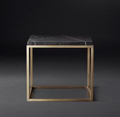 Nicholas Marble Rectangular Collection by RH Modern – White Marble & … RH Modern's Nicholas Marble Rectangular Collection – White Marble & Burnished Brass - Marble Table Designs Casa Atrium, Square Side Table, Side Tables, Entry Tables, Home Furniture, Furniture Design, Coffe Table, Black Marble, Granite