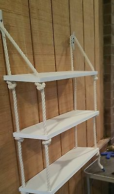 Details about 3 Tier Nautical Rope Shelf / Rope Shelf / Nautical Shelf / Nautical Nursery / Sw - Decoration For Home Recycled Pallets, Wooden Pallets, Wooden Diy, Nautical Bathrooms, Nautical Nursery, Nautical Rope, Nautical Theme, Nautical Pallet Ideas, Wood Nursery