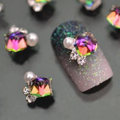 10pc Crystal Rhinstone Pearl 3d Nail Charms For Nail Art Decorations DIY  Glitter Alloy Nails Tools. Rhinestone ... 7ba8a467c796