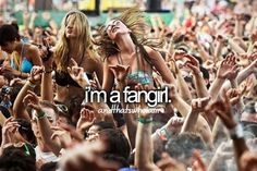 And that's who I am... Except this is NOT a fangirl. A fangirl is a girl who freaks out over books... Do your research correctly!!! A fangirl is a girl who obsesses over anything, books or movies, video games or comics, bands or tv. There are also fanboys. Fangirls often have an otp and scream over them. Each thing they fangirl over belongs in a fandom!!! Duh!!!