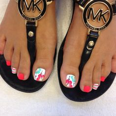 67 New Ideas summer pedicure designs toenails Pretty Toe Nails, Cute Toe Nails, Cute Toes, Pretty Toes, My Nails, Bright Toe Nails, Gorgeous Nails, Toe Nail Color, Toe Nail Art