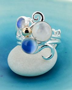 Moonstone Swirl Ring   Multi Stone Silver Ring  by MaryColyer