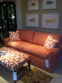 Tangerine is hot! Wesley Hall #hpmkt, We love Wesley Hall, great style, really comfortable, well made in NC and great prices.