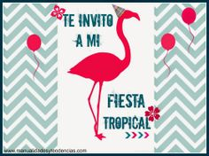 invitación fiesta tropical imprimible gratis www.manualidadesytendencias.com Tropical Party, Love Craft, Scrap, Parties, Symbols, Letters, Club, Projects, Ideas