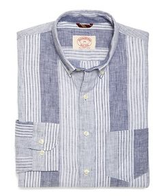 Linen Engineered Stripe Sport Shirt - Brooks Brothers