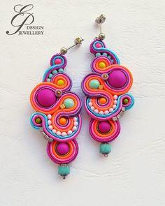 Poetic earrings - recycled Tin - prints one side - handmade jewelry - unique creation - drop shape - nature jewelry - Custom Jewelry Ideas Rope Jewelry, Fabric Jewelry, Jewelry Crafts, Hippie Jewelry, Jewellery, Diy Earrings, Earrings Handmade, Crochet Earrings, Handmade Jewelry
