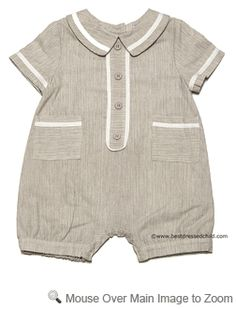 Frankie by Luli Infant Baby Boys Tan / Flax Romper with White Piping Trim
