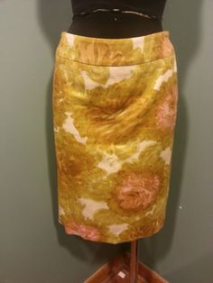 Talbots Gold Olive Peach Pink Bone Floral Cotton Lined Suit Dress Skirt 4 Euc $24 Free Shipping!
