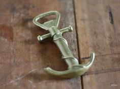 Vintage Brass Antique Nautical Anchor Wine and Bottle Opener