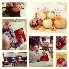 Proyecto de Halloween en el primer ciclo de educación infantil con niños de 1 año.  Esta vez nuestro propósito era trabajar el concepto de dentro.