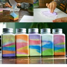 Chalk and salt bottles! I used to make them when I was younger. Summer Diy, Summer Crafts, Diy And Crafts, Arts And Crafts, Church Activities, Sensory Activities, Diy For Kids, Crafts For Kids, Easter Crafts