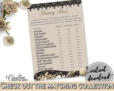 Honey Do List in Seashells And Pearls Bridal Shower Brown And Beige Theme, beloved game, black lace, shower activity, party theme - 65924 - Digital Product bridal shower wedding bride to be bridesmaids