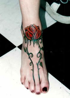 Rose Tattoo # 51 - We're sure that you haven't seen sexiest rose tattoo idea like this for foot. Pin & like if you agree with us:)