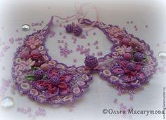 """Купить Воротничок """"Сиреневый"""" - фиолетовый, цветочный, сиреневый, воротничок, нарядный, наборное кружево, кружево, розовый"""