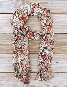 Winter Dreams Scarf from Passion Lilie. A floral hand block printed cotton scarf with tassels. Fair Trade. Ethical Fashion.