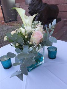 Stehtisch Dekoration Für Hochzeit In Türkis Mit Blau Im Jagdschloss Platte  In Wiesbaden