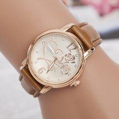 Fashion Luxury Ladies Watches Women Gold Alloy Case Ladies Watch Leather  Quartz Watch Relogio Feminino Clock 50ad871df391
