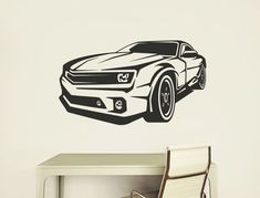 For any fan of cool American muscle cars, one of these Mustang wall decals would be the perfect design to add to any bedroom, games room or kids room decor Boys Wall Stickers, Childrens Wall Stickers, Wall Decals, Car Silhouette, Silhouette Vector, Shiva Meditation, Boys Room Design, Dark Art Drawings, Music Wall