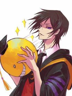 Koro-sensei and Lelouch have same voice actor Ansastsu kyoushitsu X Code geass Anime Meme, Bakugou Manga, Manga Girl, Anime Girls, Anime Crossover, Fanarts Anime, Anime Characters, Koro Sensei Quest, Lelouch Lamperouge