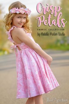 Crisp Petals Fabric Collection by Natalie Malan Studio Kids Frocks, Frocks For Girls, Moda Kids, Sewing Blogs, Sewing Projects, Glamour, Long Tee, Le Jolie, Gorgeous Fabrics
