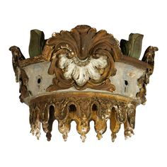 Antique Venetian Bed Crown  Italy  1750s  Preserved for over 2 centuries, this elegant Venetian bed crown was first hand-carved by master artisans, then given a painted and gilded finish that is still in superlative shape.