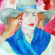 Original Western Art Watercolor A bold cowgirl in a yellow shirt, blue wild rag and star earrings pops off of the mottled red background. luckystargallery.com $465