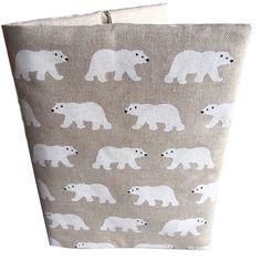 Protège carnet de santé aspect lin ours blanc