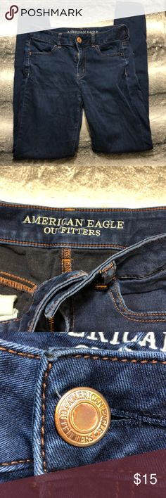 """American Eagle Hi-Rise Jegging This is an ok condition Hi-rise Jegging American Eagle Jean. These jeans have a nice stretch to them. There are crimps on the front and back. Please refer to photos for condition.   Waist 27"""" Inseam 30"""" American Eagle Outfitters Jeans"""