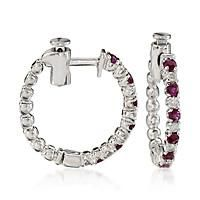 """.45 ct. t.w. Ruby and .15 ct. t.w. Diamond Hoop Earrings In 14kt White Gold. 5/8"""": ""The… #Jewelry #ClearanceJewelry #DiscountJewelry"