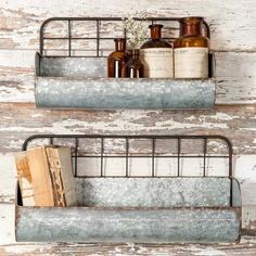 Unique Galvanized Metal Wall Shelves Set OF 2 Rustic Farmhouse Country Decor New These metal trough shelves with their fun wire backing are an absolute Farmhouse Fave They are great in almost any room and add so much charm and style. Country Decor, Rustic Decor, Farmhouse Decor, Modern Farmhouse, Farmhouse Style, Vintage Farmhouse, Farmhouse Shelving, Rustic Room, Rustic Modern