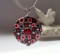 Red Burgundy Black and White Focal Bead Pendant  Retro by efiwarsh