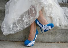 blue wedding heels if i could get them in purple