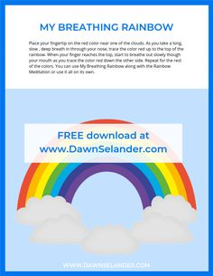 Breathing Rainbow Printable Mindfulness For Kids, Mindfulness Activities, Relaxation Activities, Yoga For Kids, Exercise For Kids, Deep Breathing Exercises, Therapy Tools, Therapy Ideas, Art Therapy Activities